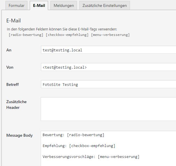 Screenshot Email-Tab